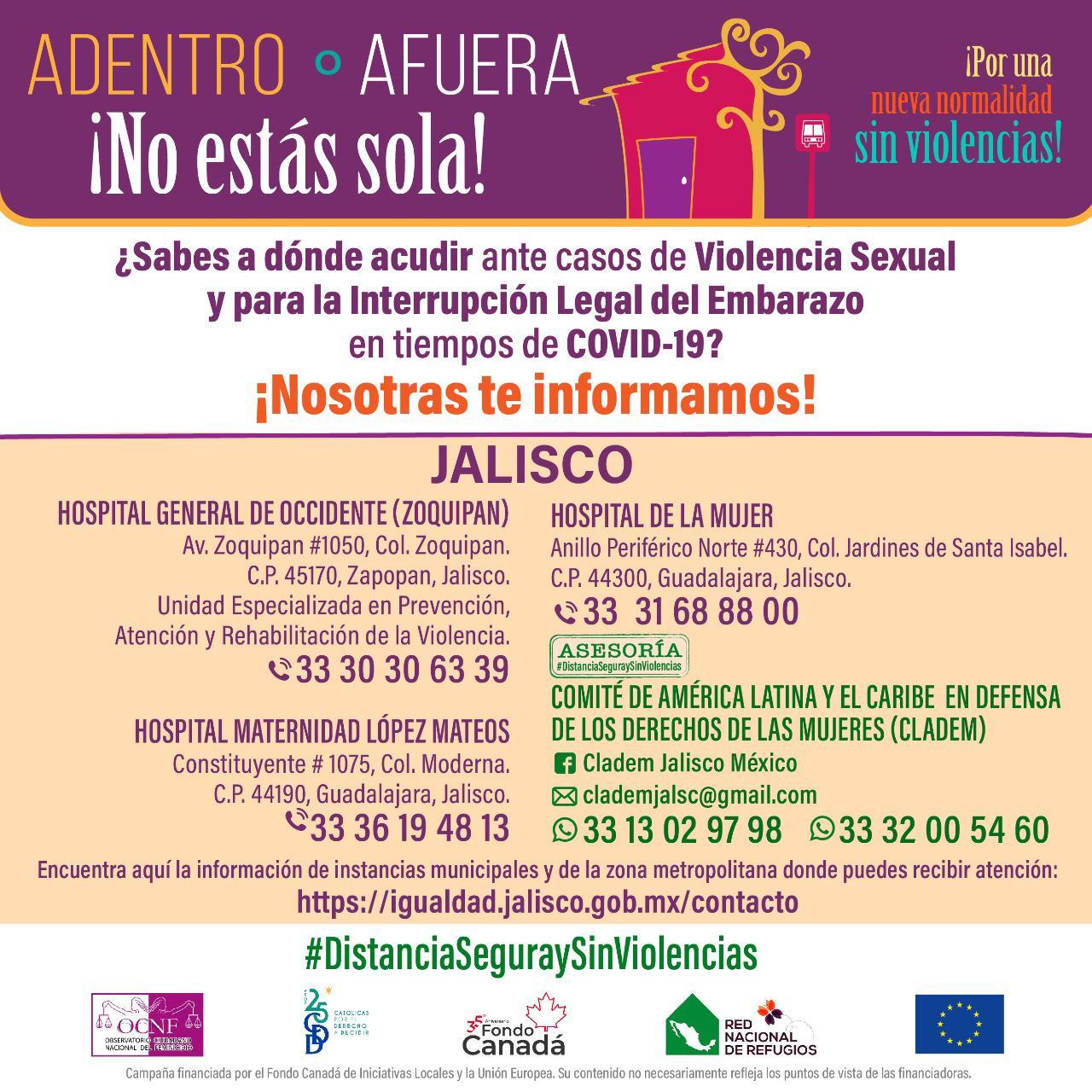 ¿Sabes a dónde acudir ante casos de Violencia Sexual y para la Interrupción Legal del Embarazo en ti