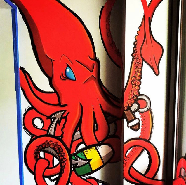 Squid Mural Hooked Fish Shop Bow Market Somerville Blind Fox Art
