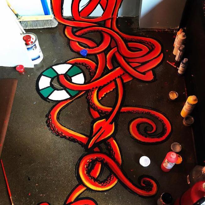 Blind Fox Art Squid Mural Bow Market Hooked Fish Shop