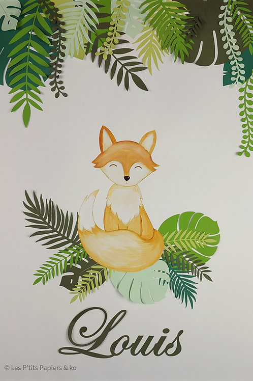 Tableau renard dans la jungle