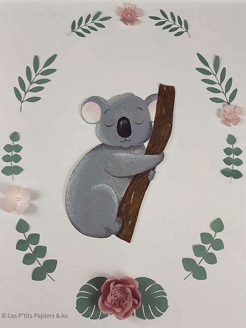 Tableau koala en fleurs