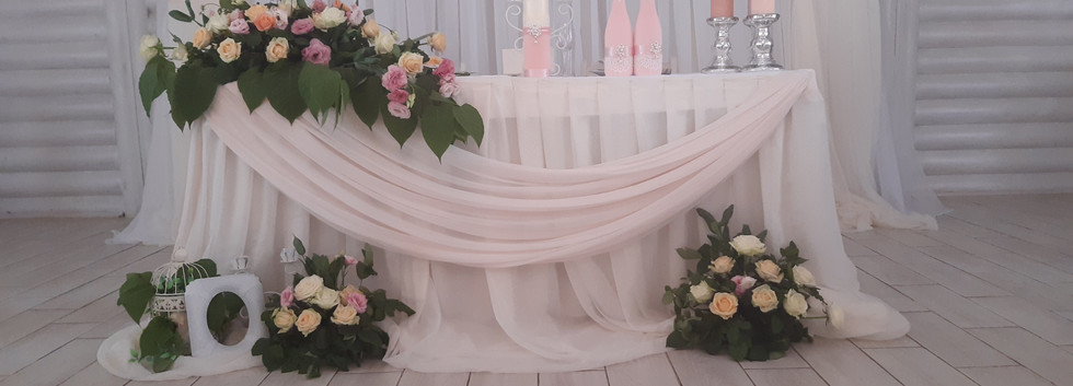 Украшение свадебного зала в розовом цвете Киев