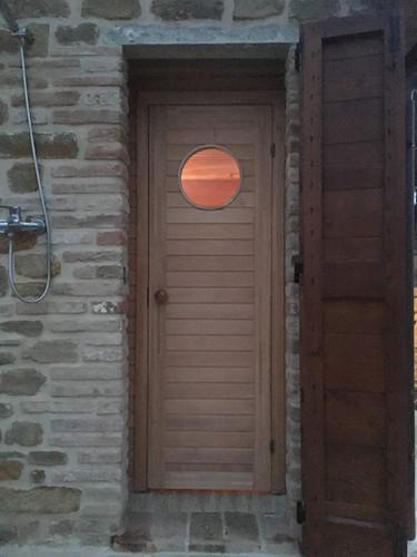 The sauna door