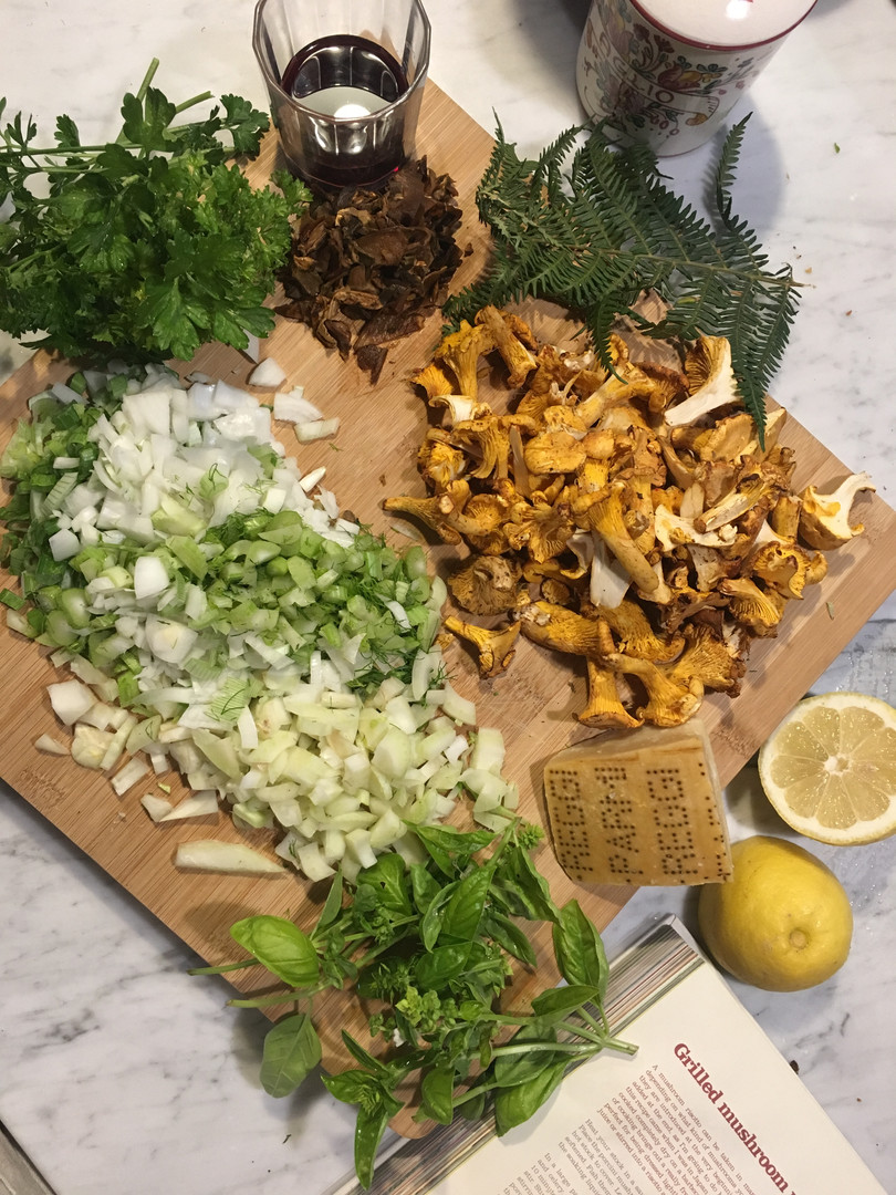Funghi risotto ingredients
