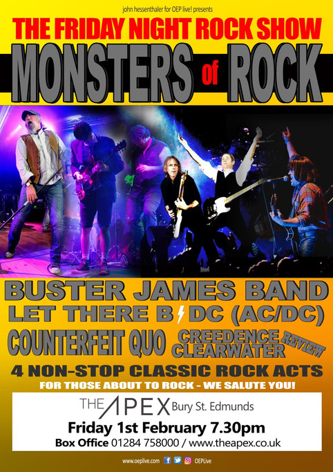 Monsters of Rock at The Apex in Bury St Edmunds 1st Feb 2019