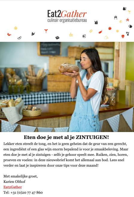 Maandelijkse nieuwsbrief Eat2Gather Culinaire Expeditie