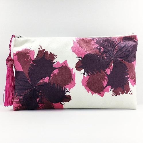 Burgundy Flower Make Up Bag
