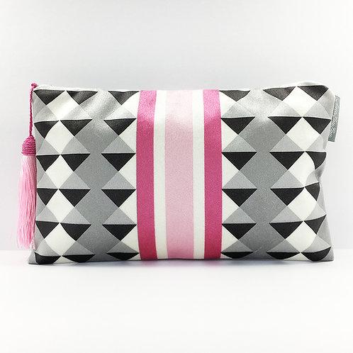 Pink Harlequin Stripe Make Up Bag