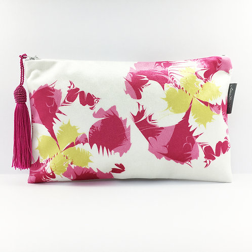 Pink and Yellow Flower Make Up Bag