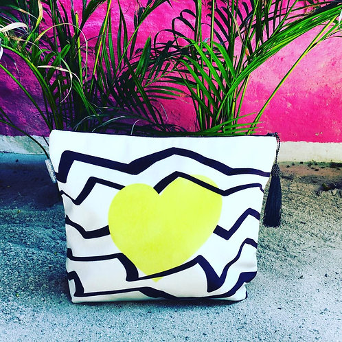Yellow Heart Wash Bag