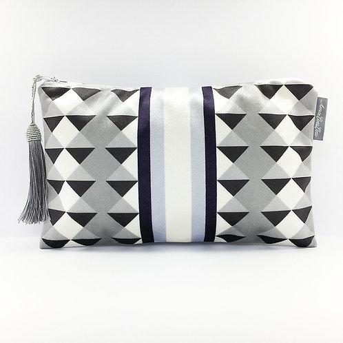 Blue Harlequin Stripe Make Up Bag