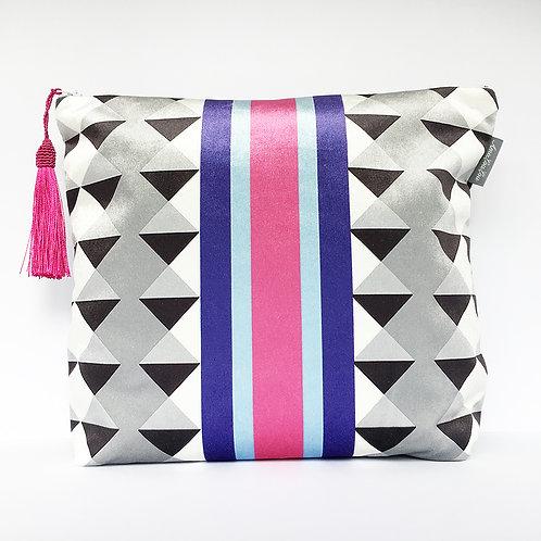 Pink and Blue Harlequin Stripe Wash Bag