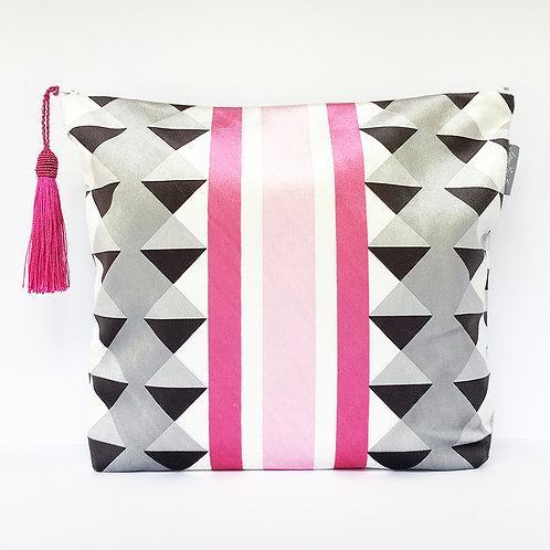 Pink Harlequin Stripe Wash Bag