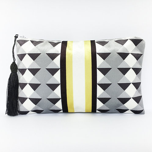 Yellow Stripe Harlequin Make Up Bag