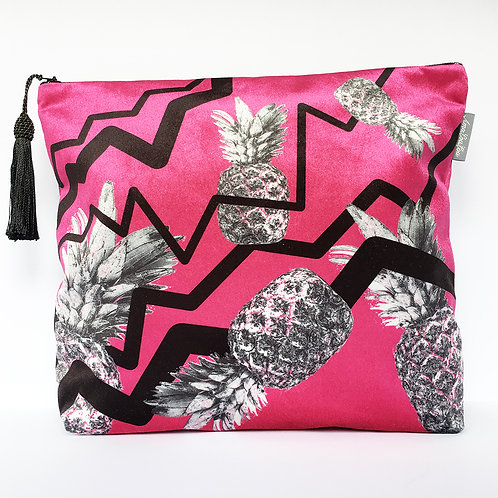 Pink Zig Zag Pineapple Wash Bag