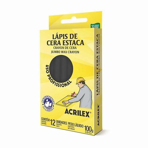 LAPIS ESTACA ACRILEX C 12 PRETO