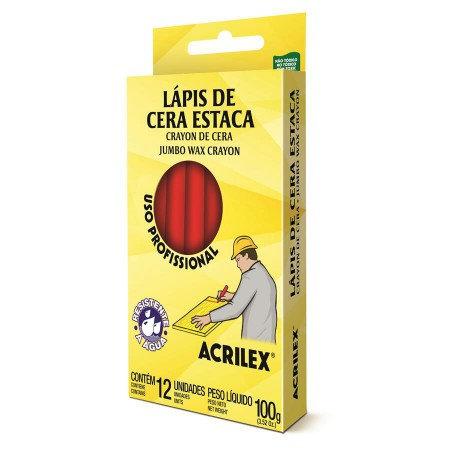 LAPIS ESTACA ACRILEX C 12 VERMELHO