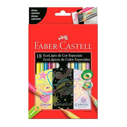 LAPIS COR FABER- CASTELL C/18 CORES- CORES ESPECIAIS