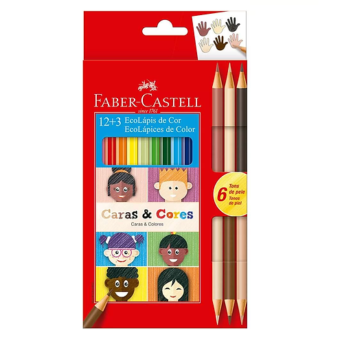 LAPIS COR FABER-CASTELL 12CORES+3 CARAS E CORES