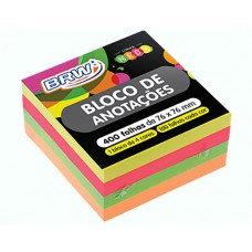 BLOCO ADESIVO BRW 76X76 C/400FL NEON