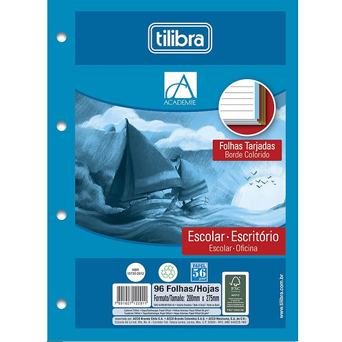 BLOCO FICHARIO ACADEMIE COLOR TILIBRA 96FL UN