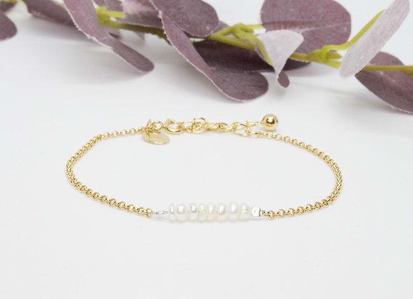 Bracelet doré | Perles d'eau douce baroques