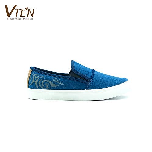 VTEN :Phu-Rua The Classic Slip On Shoes - Indigo Blue