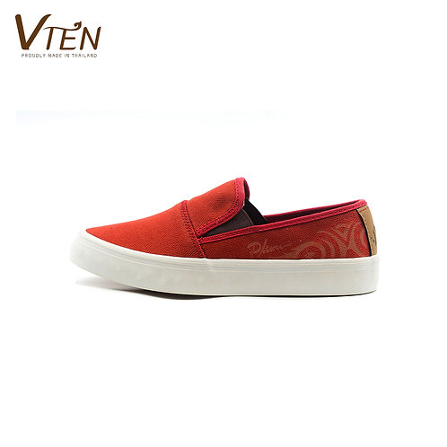 VTEN :Phu-Rua The Classic Slip On Shoes - Thai Woven Red