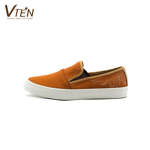 VTEN :Phu-Rua The Classic Slip On Shoes - Thai Woven Orange