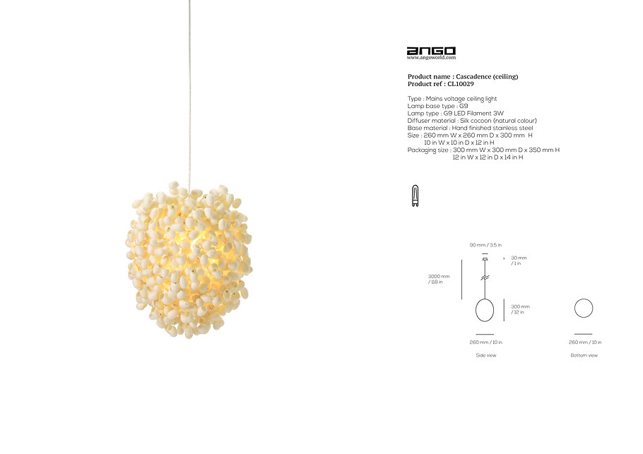 Silk cocoon pendant by Ango