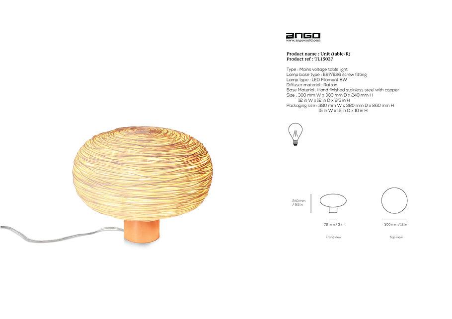 Rattan Table light by Ango