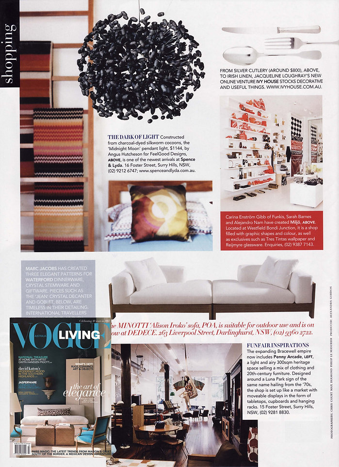 Midnight moon, black silk cocoon lighting in Vogue Livng