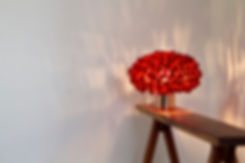 Unique handcrafted silk cocoon (red) table light