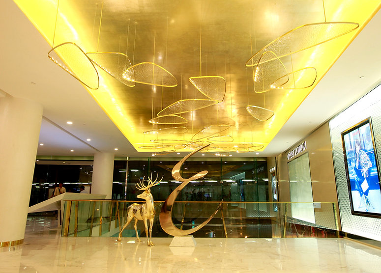 Handcrafted lighting at Louis Vuitton shop Emporium Bangkok