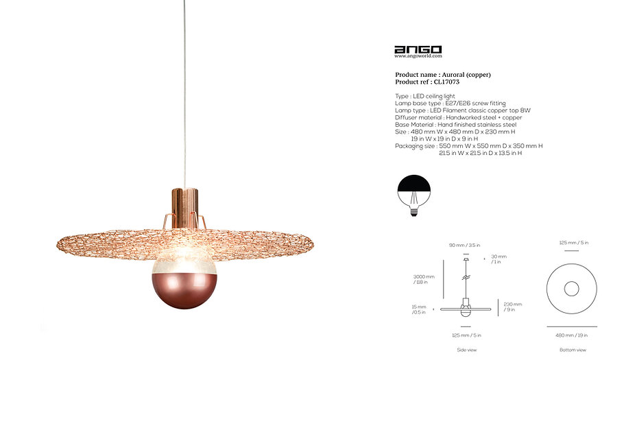 Copper jewellery lighting handmade by Ango