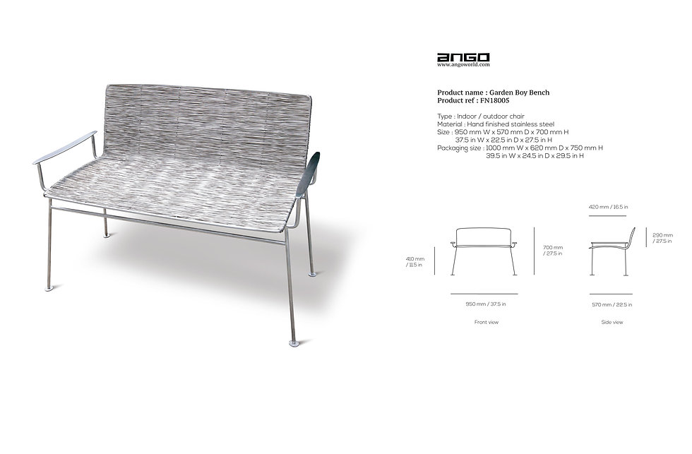 stainless steel bench for outdoor