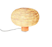 Rattan table light in copper plate