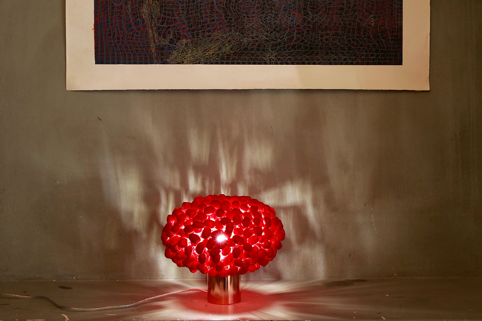 Beautiful light from handcrafted silk cocoon (red) table light