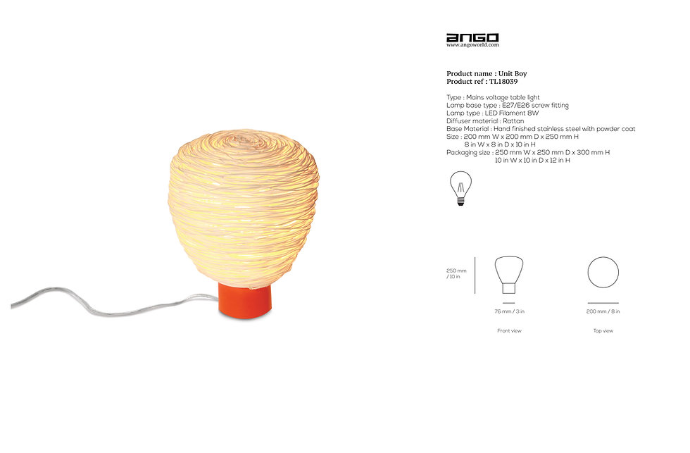 Modern table light with rattan handmade