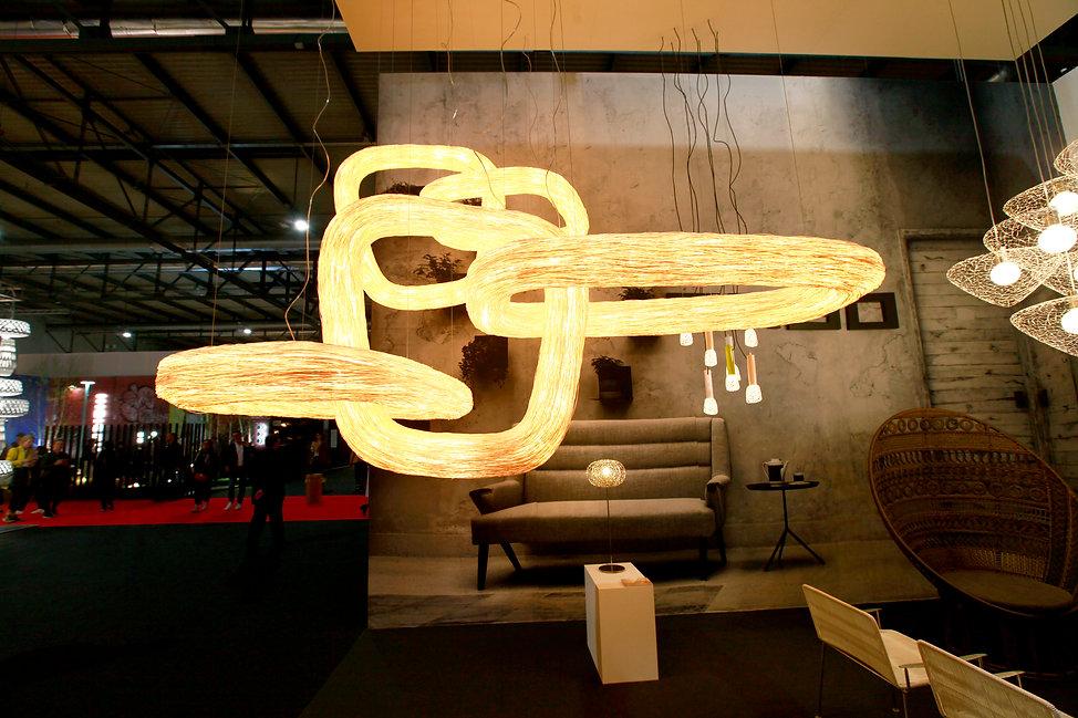 Rattan light installation in Euroluce, milan