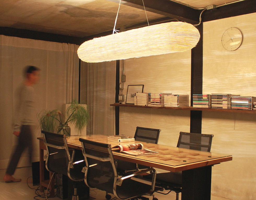 Handcrafted rattan ceiling light in meeting room