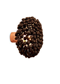 Unique silk cocoon in black colour wall light