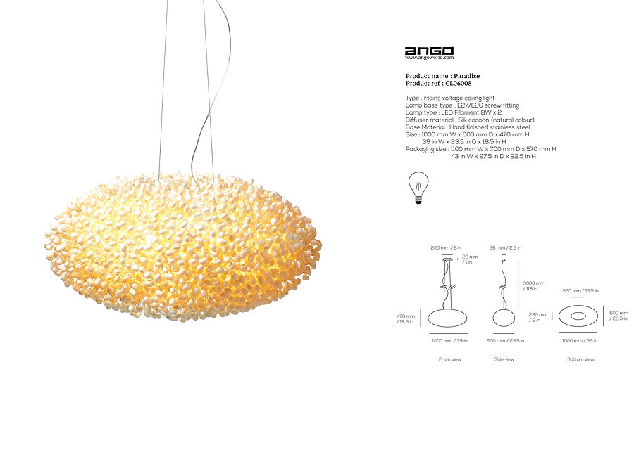 Ceiling light made of silk cocoon