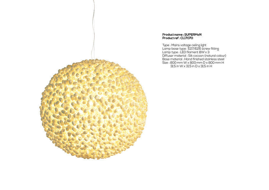 Spectacular handcrafted silk cocoon lighting created by Ango