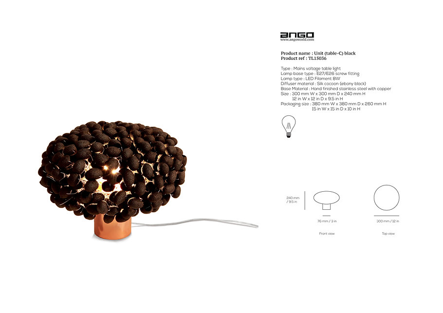 Table light with black silk cocoon