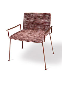Hand weaving chair with stainless steel wire in copper