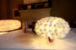 Handcrafted silk cocoon table ligh designed by Ango