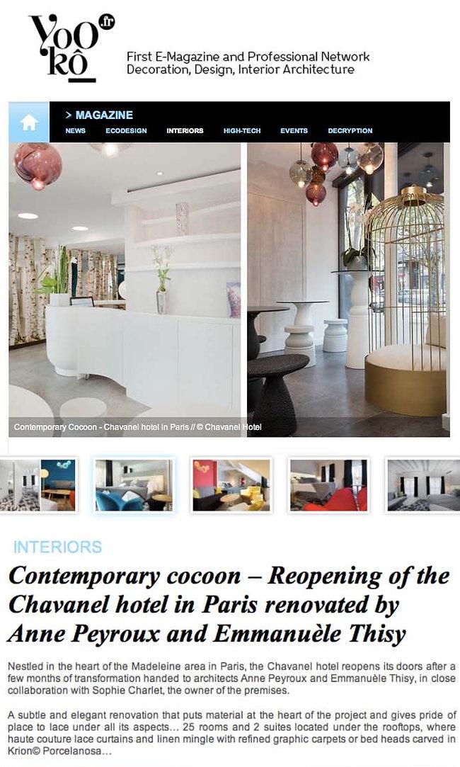 Hotel Chavanel interior design