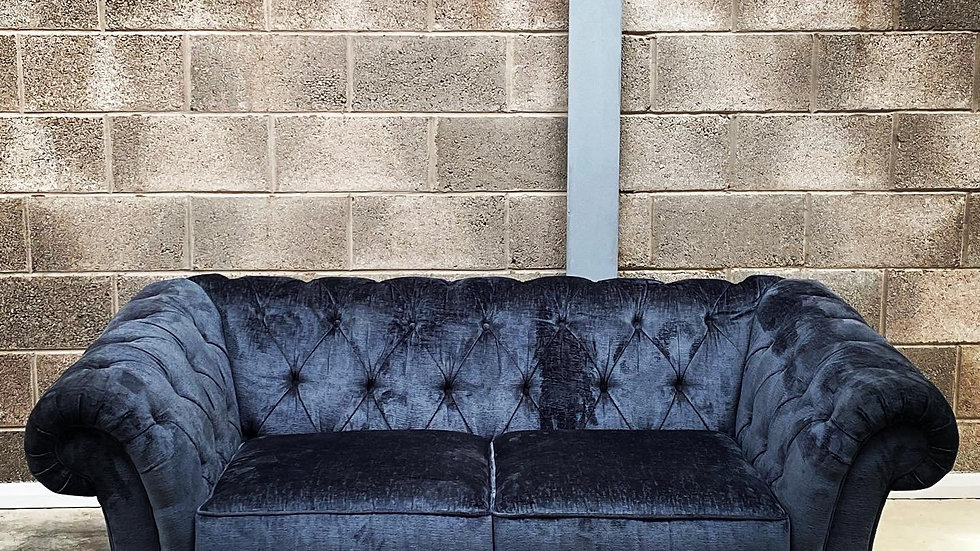 GOTHAM 2 Seat Chesterfield Charcoal - NEXT