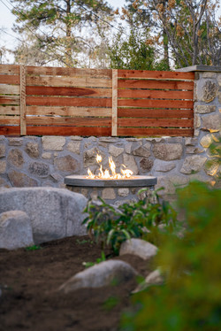 Firepit and privacy wall